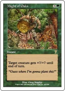 7th Edition Might of Oaks Foil NM+ MTG